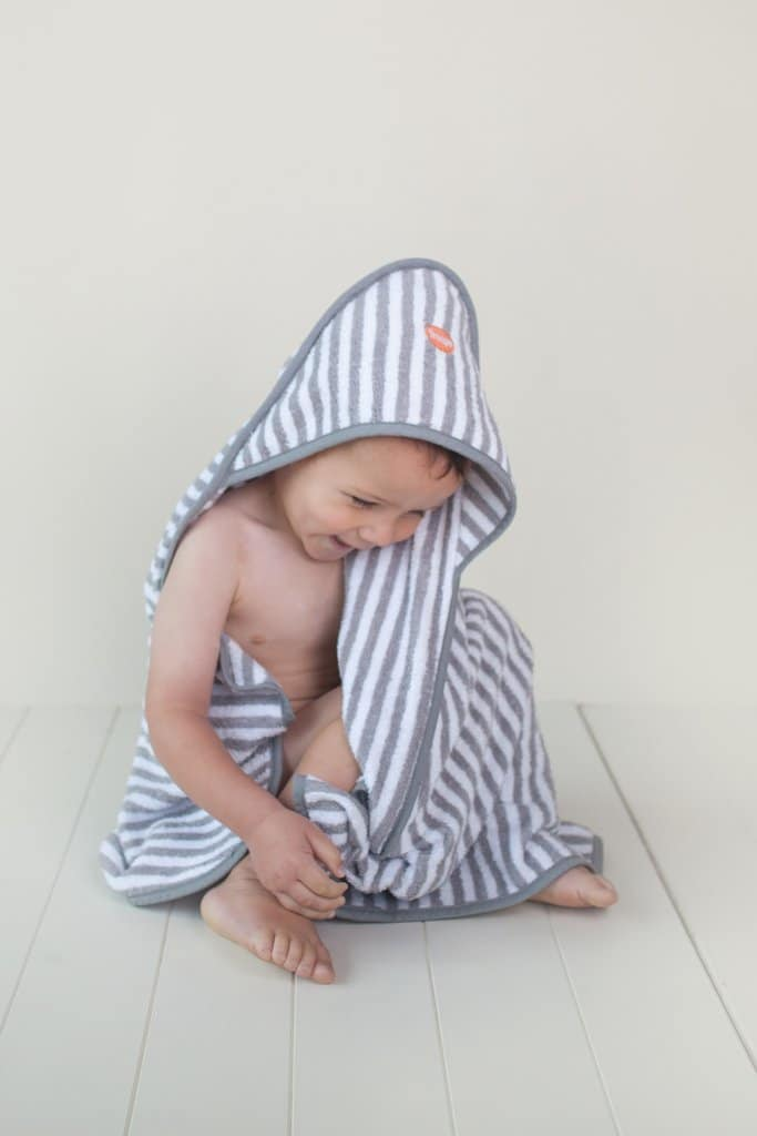 striped troupe hooded baby towel with toddler