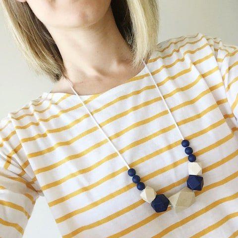 wearing navy ziggy necklace