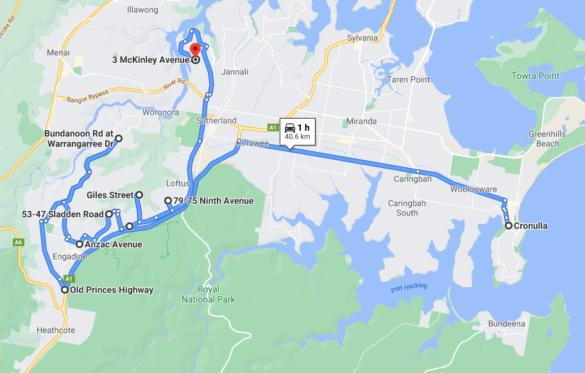 Cronulla - Bonnet Bay (1hr one-way)