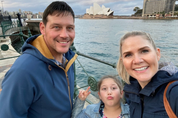 Emma Chadwick with her husband and daughter