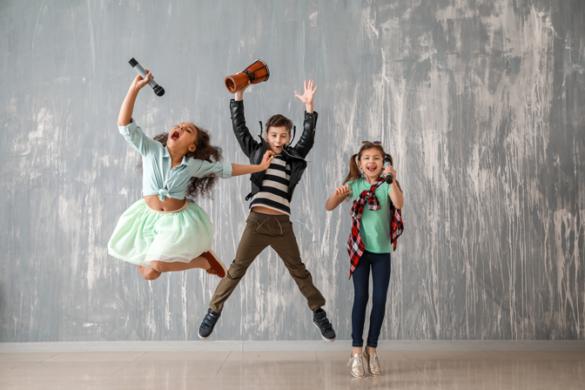 Kids singing and jumping