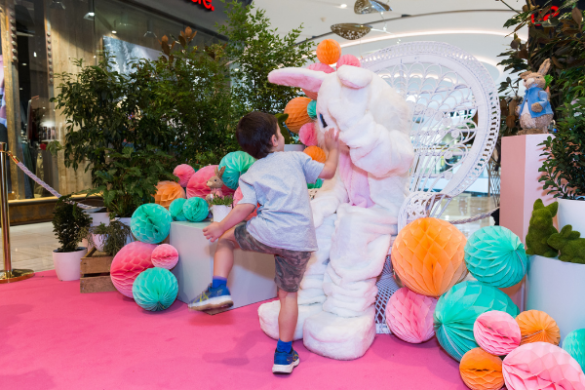 Child meeting the easter bunny at Westfield Miranda