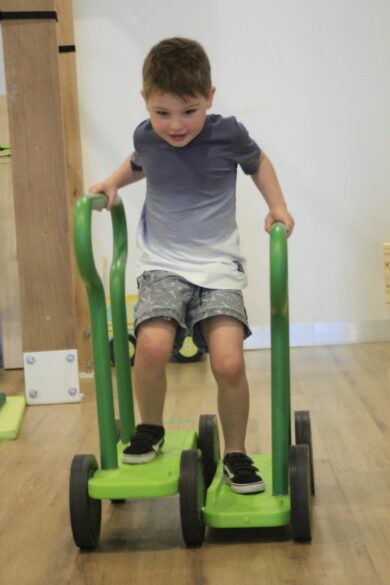 child using physio equipment