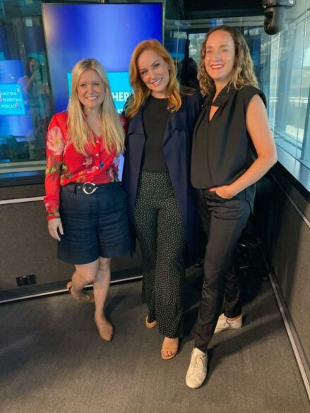 Co-hosts Sarah McGilvray & Cathrine Mahoney with guest Jules Robinson
