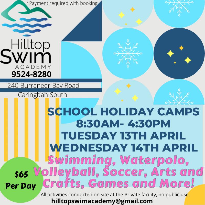Hilltop Swim Academy school holiday camps ad