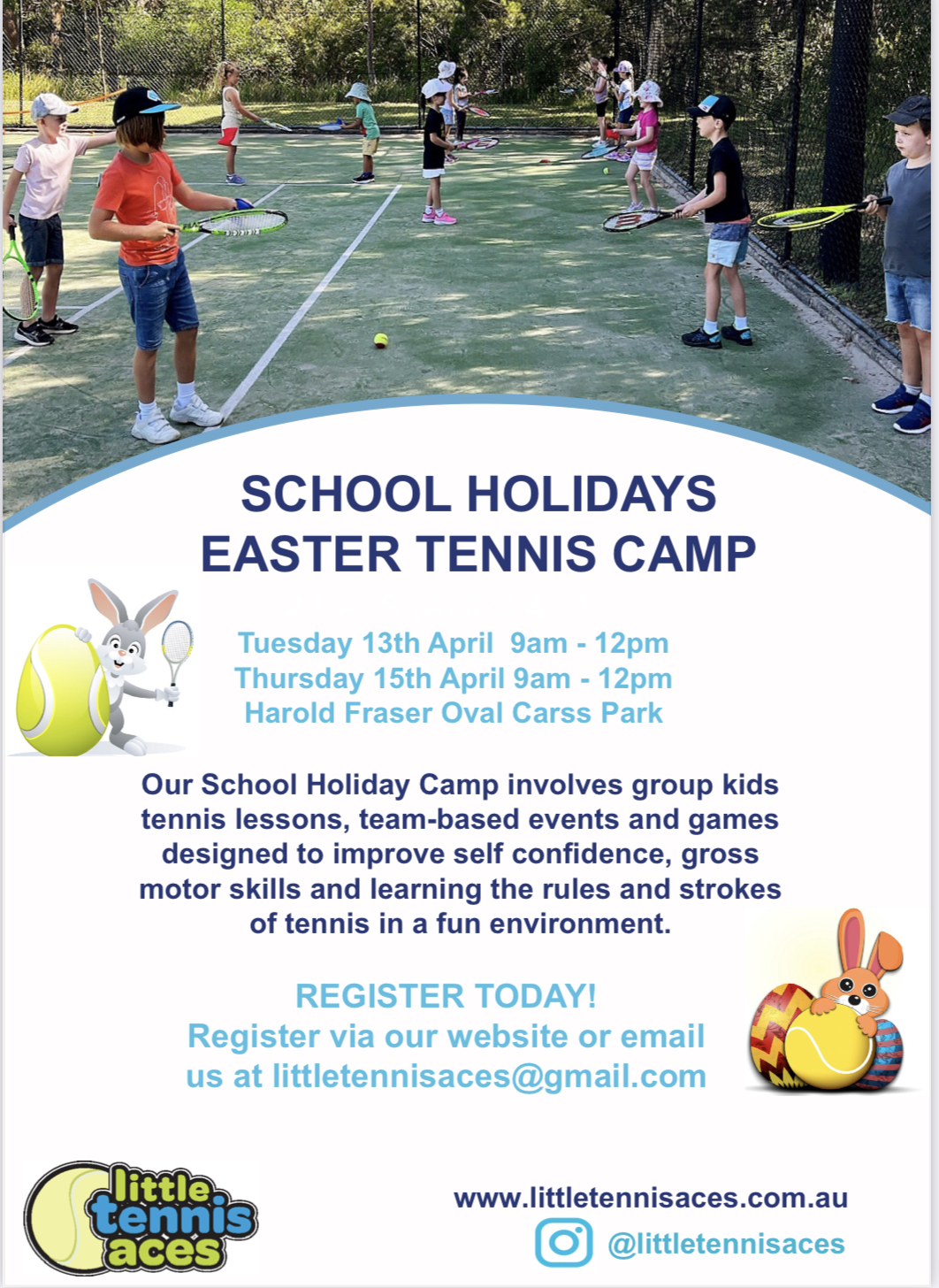 Little Aces Tennis holiday camps poster